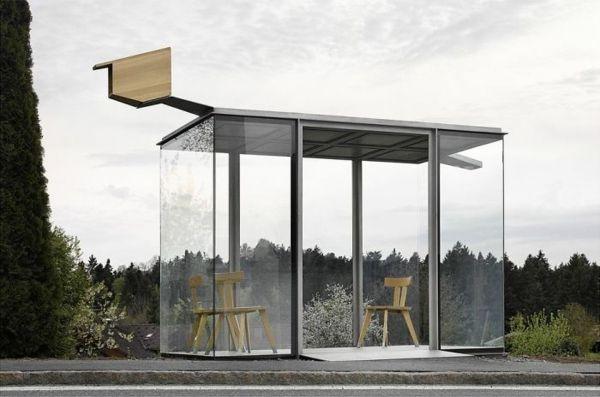 bushaltestellen smiljan radic haltestelle glas holz krumbach österreich