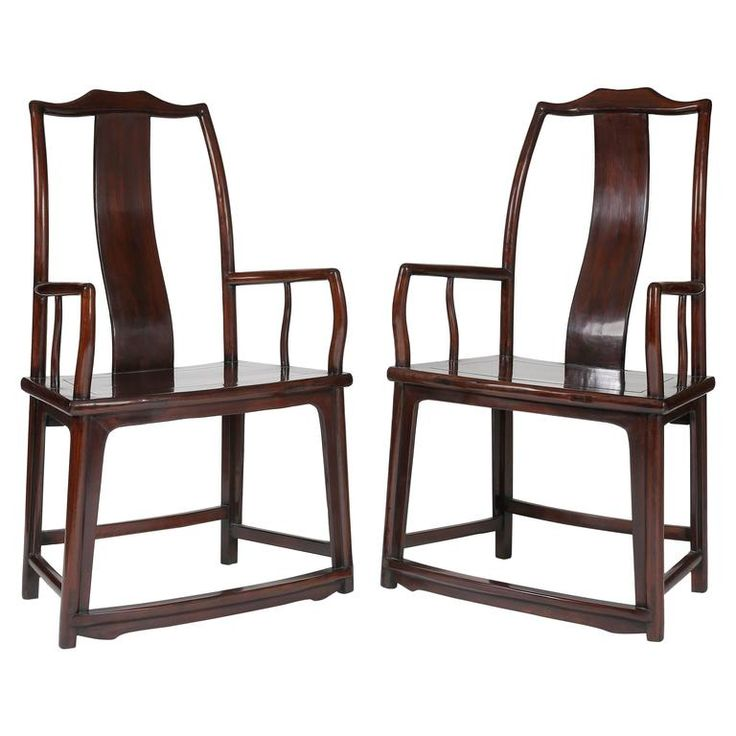 Pair of 19th Century Official's Hat Rectangular Back Armchairs, Fan Shaped Sea | From a unique collection of antique and modern furniture at https://www.1stdibs.com/furniture/asian-art-furniture/furniture/