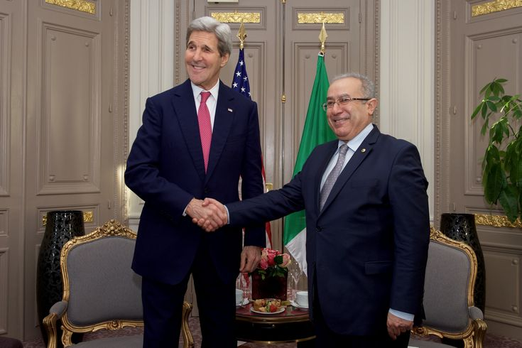 https://flic.kr/p/BSDCPP | Secretary Kerry Shakes Hands With Algerian Foreign Minister Lamamra Before Bilateral Meeting on Sidelines of COP21 Climate Change Conference in Paris | U.S. Secretary of State John Kerry shakes hands with Algerian Foreign Minister Ramtane Lamamra on December 9, 2015, in the Westin Hotel in Paris, France, before a bilateral meeting on the sidelines of the COP21 climate change conference. [State Department photo/ Public Domain]