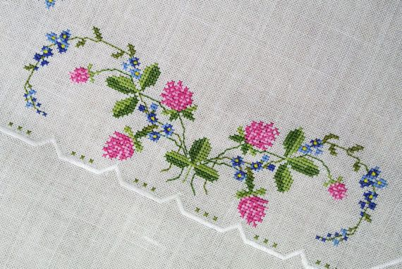Large exellently done vintage 1950s handmade cross-stitch embroidery on bone…