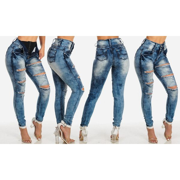 Women's ModaXpressOnline.com Buttocks Lifting High Waist Junior Jeans... ($25) ❤ liked on Polyvore featuring jeans, blue, highwaist jeans, high waisted jeans, high waisted blue jeans, high-waisted jeans and blue jeans