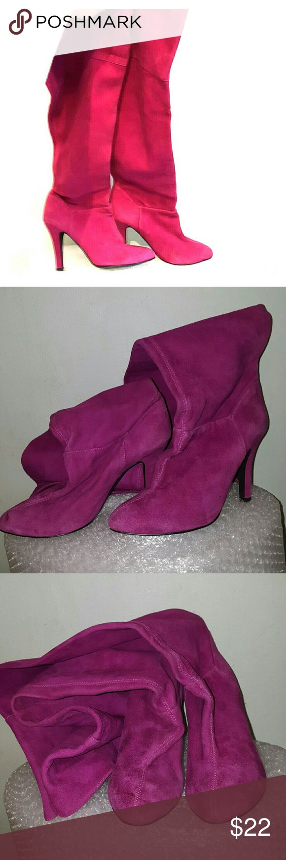 "Colin Stuart size 10 M 4"" covered heel. 20 3/4"" shaft when is fully unfolded. 17-17.5"" circumference. Pretty raspberry suede. Occasional dirt marks. Colin Stuart Shoes Over the Knee Boots"