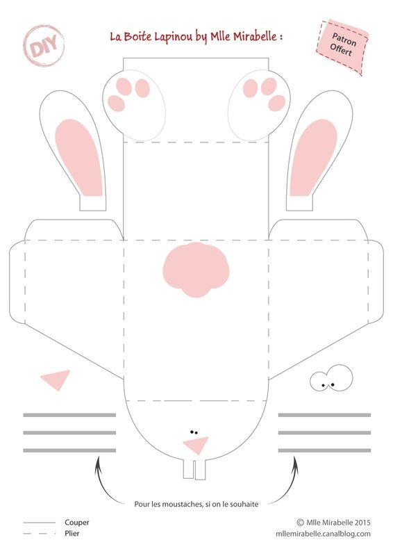 DIY de paques : la boite lapin, tuto et patron gratuit Free Easter Tuto Bunny Box http://mllemirabelle.canalblog.com/tag/boitelapin
