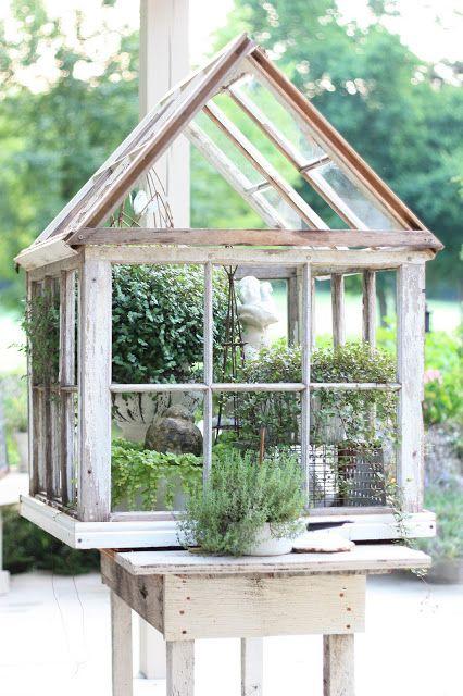 garden folly: windows used to make a mini greenhouse