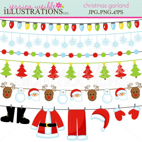 Christmas Garland clipart set comes with 6 cute graphics ...