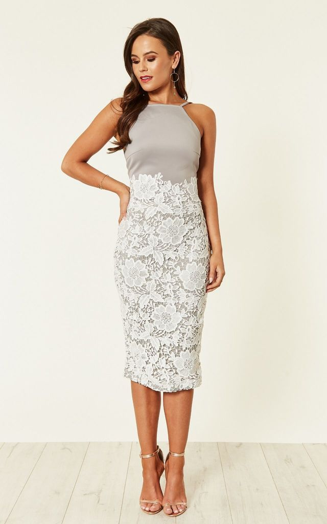 4ec41a1a6ad6 Tammy Lace Midi Dress Grey/White By Girl In Mind in 2019 | dresses ...