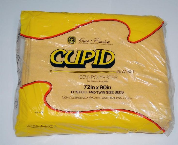 vtg owen blanket sealed cupid 100 polyester new nos sealed gold 72x90
