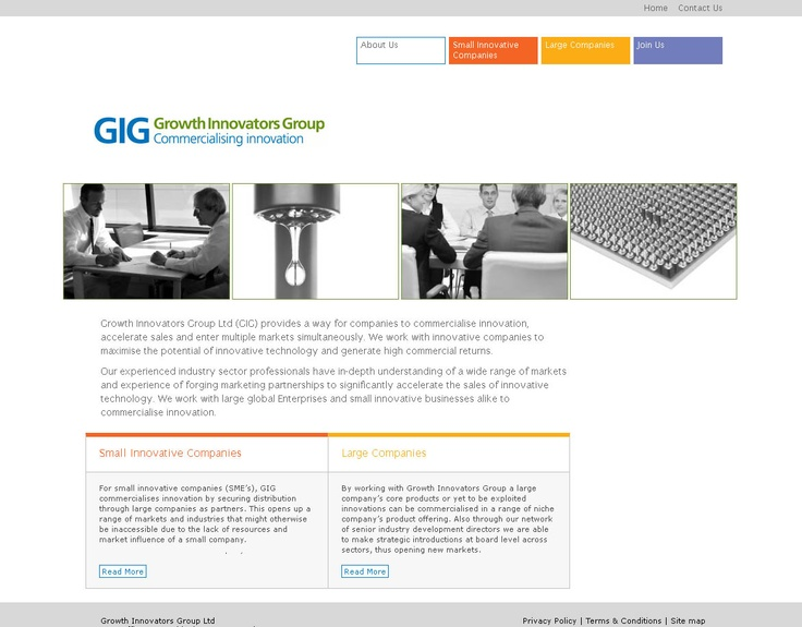 Website design and build for Growth Innovators Group who provide ways for companies to commercialise innovation and accelerate sales.