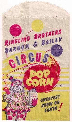 icollect247.com Online Vintage Antiques and Collectables - Ringling Bros. Circus New Old Stock Popcorn Bag Character