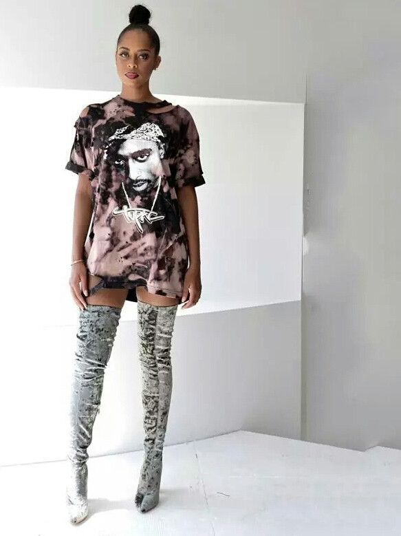 721 Likes, 12 comments Tupac distressed tie dye t-shirt and heels