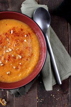 Velouté tout doux aux trois légumes, patate douce, poireau et carotte