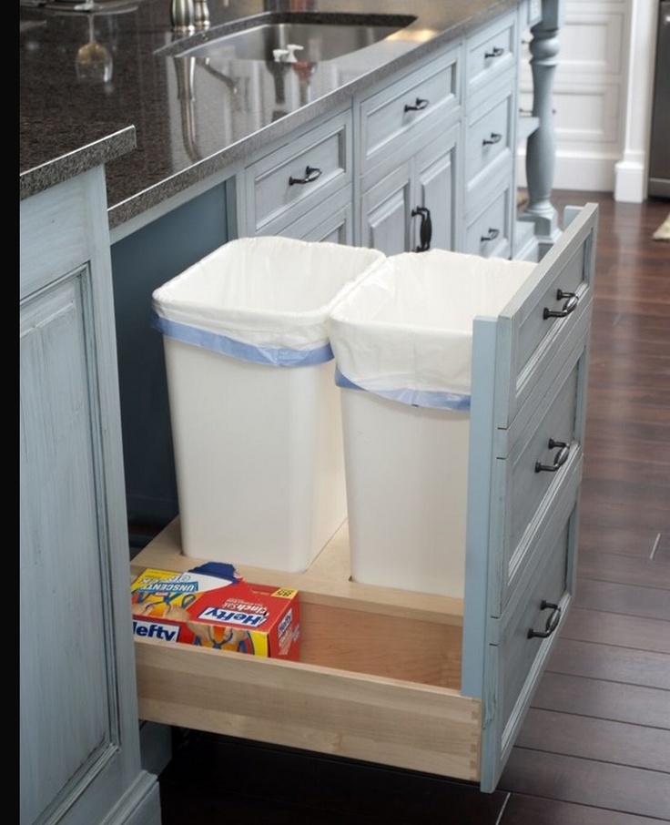 trash recycle bin inside cabinet for the home pinterest. Black Bedroom Furniture Sets. Home Design Ideas