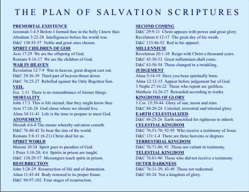 Plan of salvation scriptures - great for temple prep and teaching with the missionaries