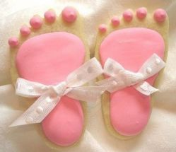 "Here is a fun idea for a baby shower! Make cookies shaped like a baby foot! Your guests will ooh and aah at the ""too cute"" cookies, Give each guest a foot shaped cookie cutter with a ""foot poem"" and a ribbon pink/blue bow. A neat favor to take home. (The pitter patter of little baby feet is music to the ears and ever so sweet!)"