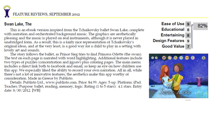 """We especially liked the ability to record your own narration""  Thank you Children's Technology Review for you review for our SWAN LAKE  http://childrenstech.com/blog/archives/10167"