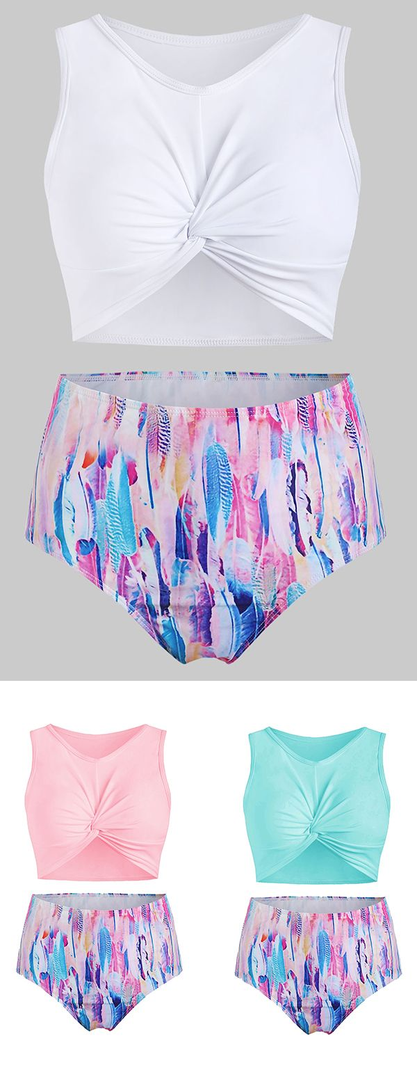 Dresslily Feather Print Twist Front Padded Tankini Swimsuit.