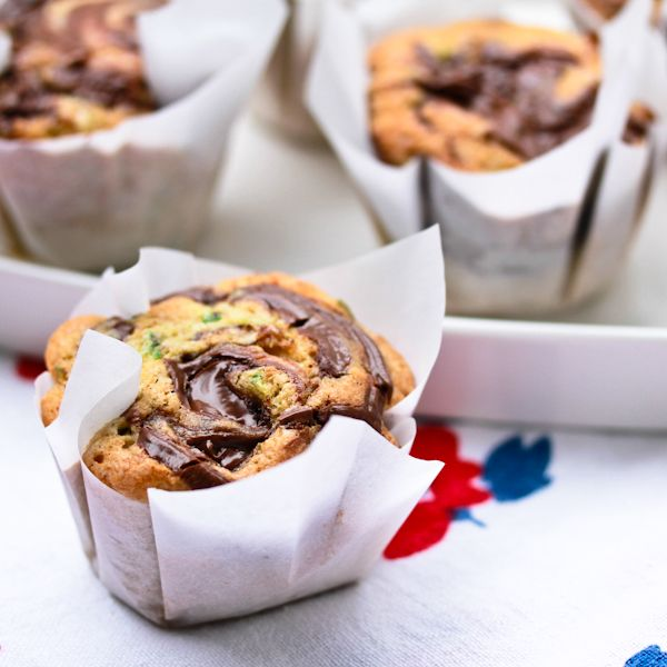 Zucchini Nutella Swirl Muffins...I actually just made this recipe & put it in a loaf pan, as suggested as an option below...it's FABULOUS & my girls love it! A keeper for me.