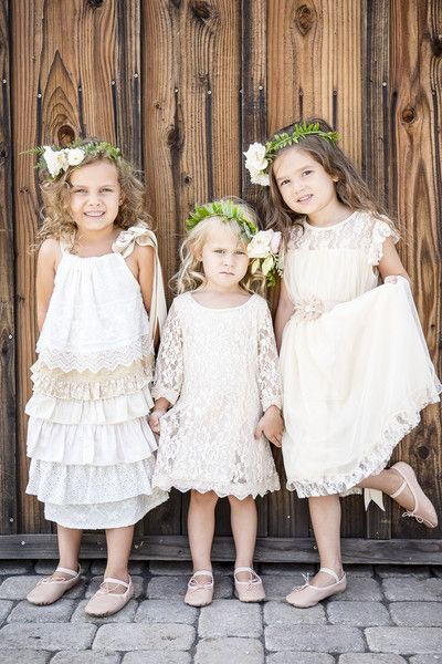 A great look for #flowergirls in a #bohemian wedding, so adorable! {Ballad's Photography}
