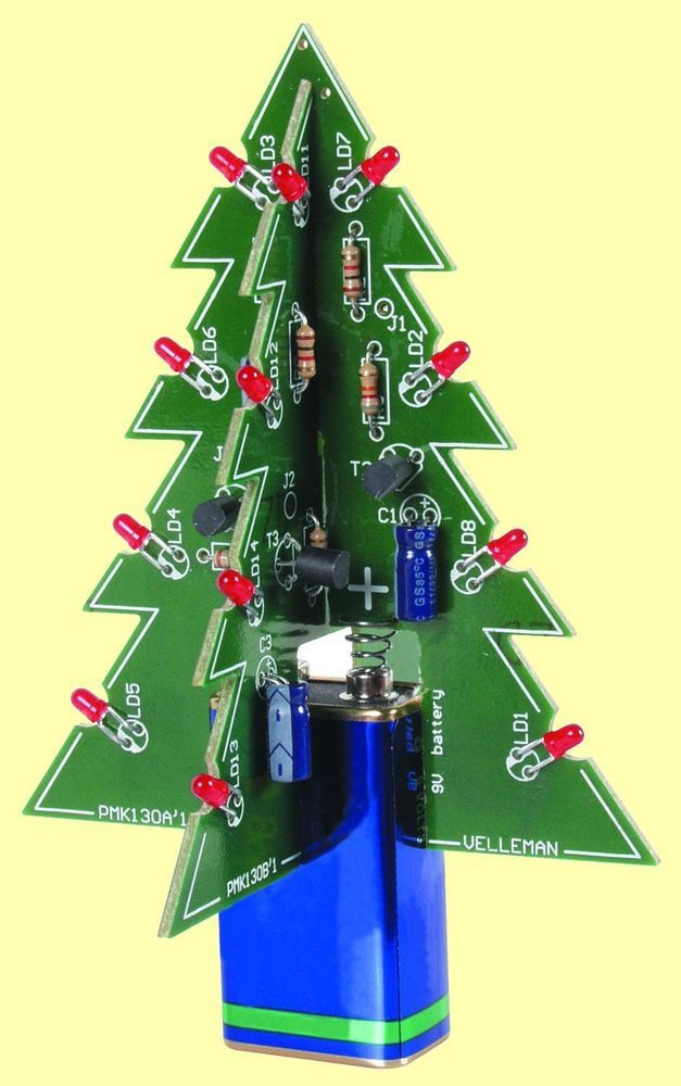 3D Christmas Tree Electronic Kit with Blinking LEDs - Fun XMAS Soldering Project #Velleman