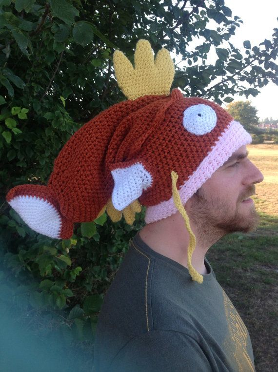 this is really funny to me and I think I would wear it Magikarp Pokemon crochet hat shiny gold fish by LottiesCreations