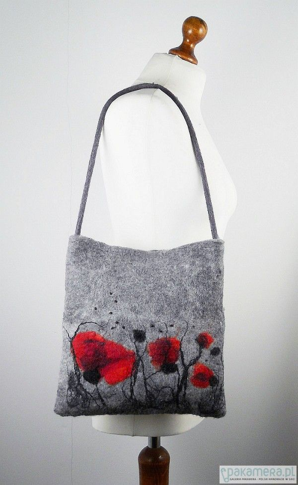 Handmade grey felt bag with black and red flowers