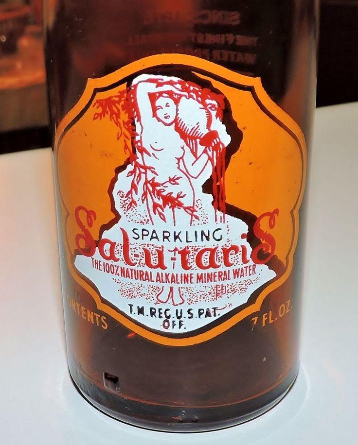 2489~Vtg 40s Amber Glass Orange White Red ACL SAL-U-TARIS Mineral Water Bottle~ #SalUTaris