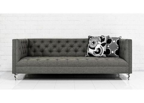 007 Sofa In Grey Textured Linen Modern Sofas