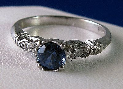 antique platinum and sapphire ring really pretty but would be better if the…
