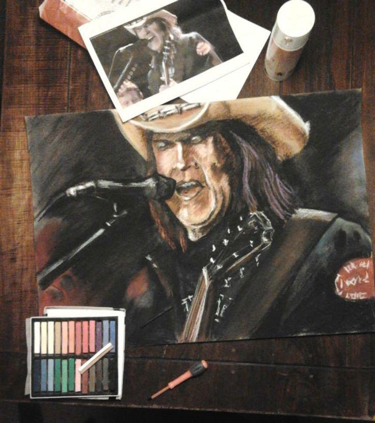 Neil Young, pastel 50x70cm