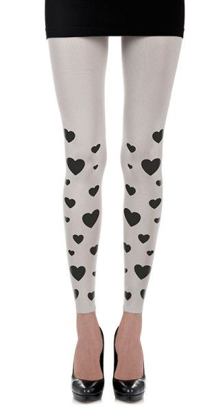 Hearts Print Footless Tights White - Zohara - Free Shipping on #trendylegs