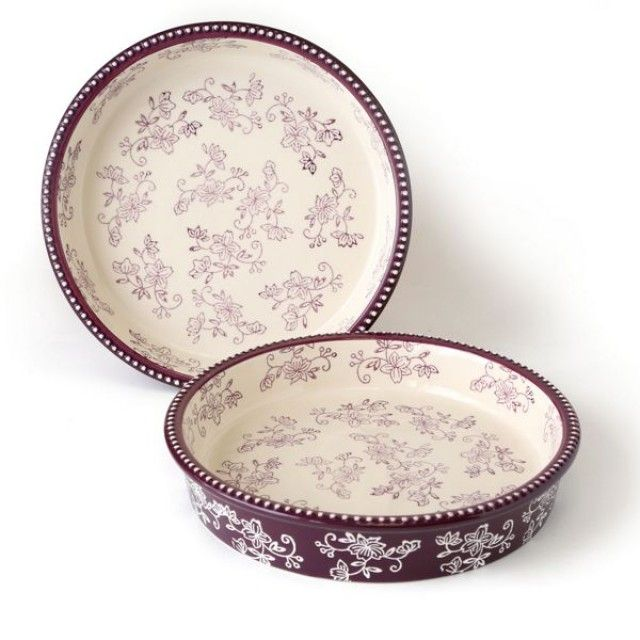 temp-tations® Floral Lace Set of Two 9u201d Cake Pans  temp. Temptations ...  sc 1 st  Pinterest & 141 best Temptations Bakeware/Dinnerware images on Pinterest ...