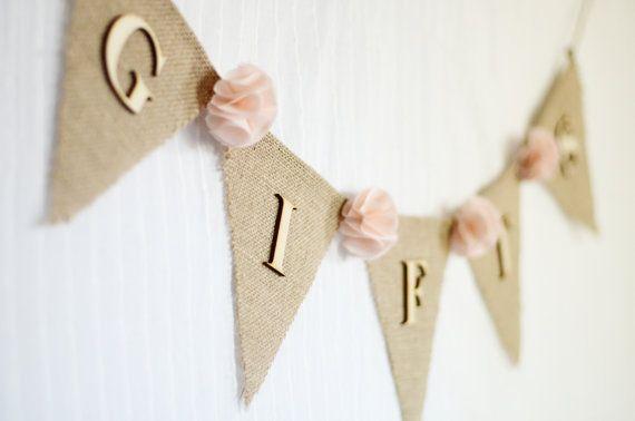 burlap wedding gifts banner / pale pink blush by SarahPerezDesigns, $21.99