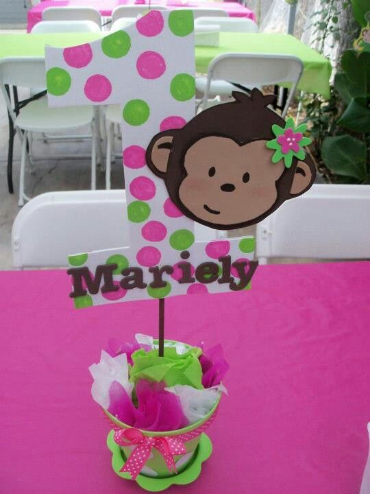 Mod monkey theme pink n green girl birthday centerpiece.