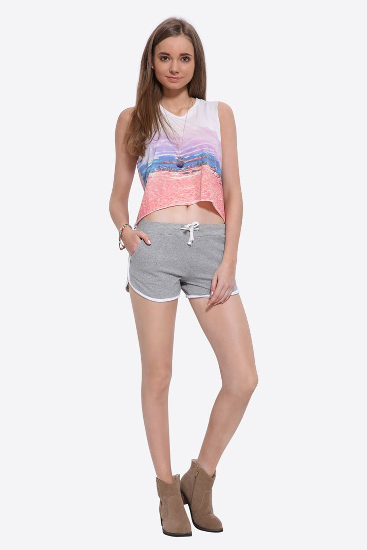 Tie-up Summer Shorts In Gray