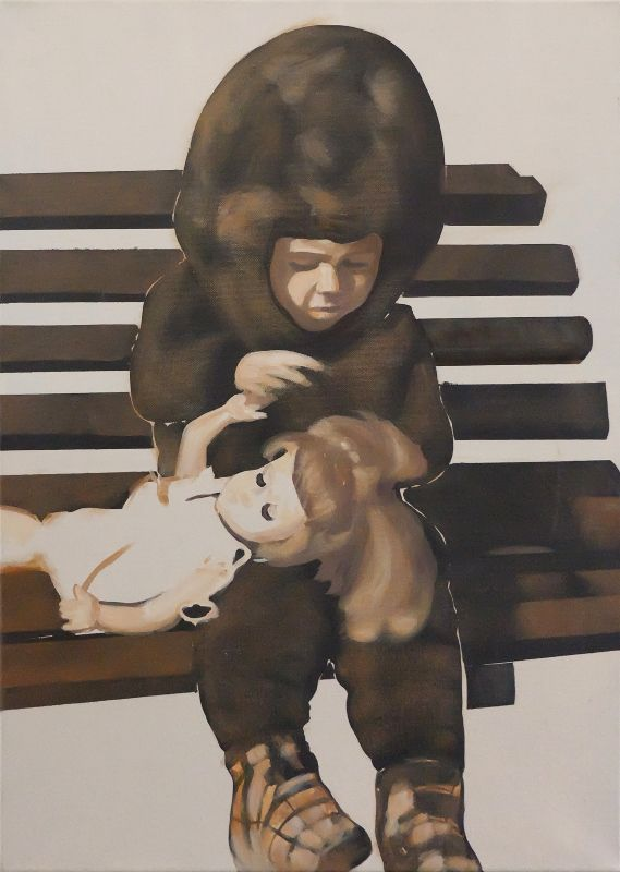 Artist: Zoltán Béla - Little Hairdresser (2009), 50 x 70 cm,  acryl on canvas