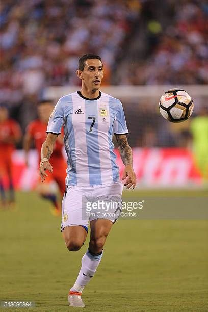 Angel Di Maria of Argentina in action during the Argentina Vs Chile Final match of the Copa America Centenario USA 2016 Tournament at MetLife Stadium...