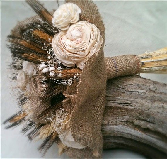 burlap wedding flowers decor, Country Charm Bouquet, DIY flower for barn wedding, farm wedding bride bouquet ideas, 2014 valentine's day www.loveitsomuch.com