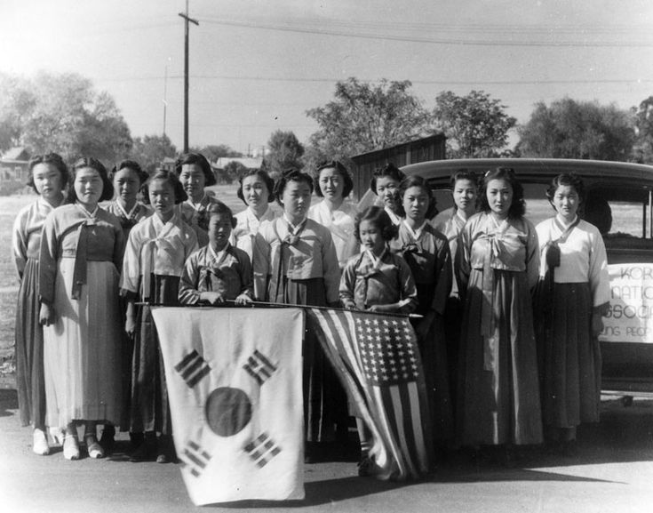 Korean National Association members in California celebrate Korean independence day in the 1930s, when Korea was still a Japanese colony. Courtesy LA Public Library.