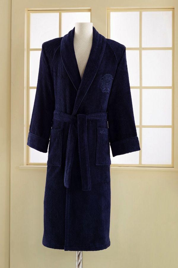 Modalový unisex župan DELUXE je k dostání vo farbe tmavo modre.