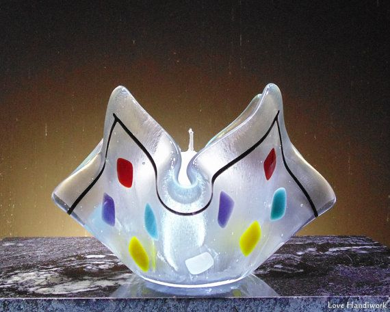 Multi Colour on Square Fused Glass Candle Holder by LoveHandyWork