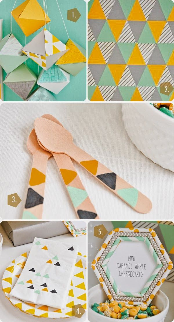 DIY crafts for a a budget friendly geometric crafternoon {lisa frank of handcrafted parties for shop sweet lulu}