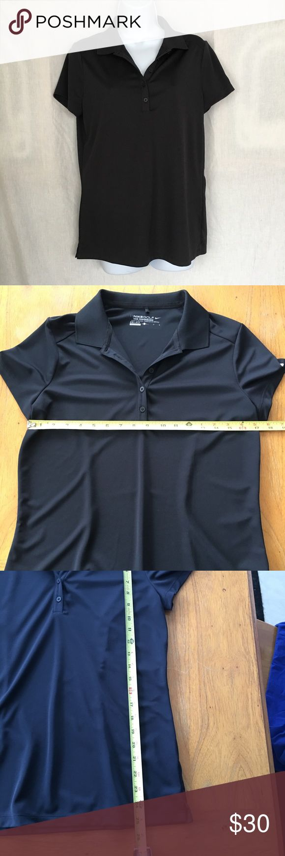 Nike Golf Dri-FIT Black Pebble Texture Polo Simple and sleek, this men's shirt can be worn to golf in, to the office, or on the weekend around the house. It'll even work under a blazer or sport jacket. The Nike Golf Dri-FIT Black Pebble Texture Polo has been designed with a self-fabric collar, two-button placket and pearlized buttons. Nike Tops Tees - Short Sleeve