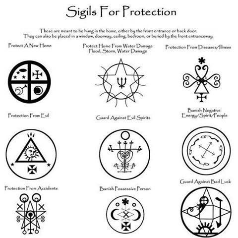 Sigils for Protection: These are meant to be hung in the home, either by the front entrance or the back door. They can also be placed in a window, doorway, ceiling, bedroom or buried by the front entranceway. #symbols