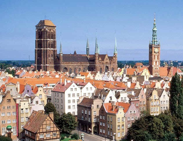 Old Town in Gdansk and huge Basilica of St. Mary