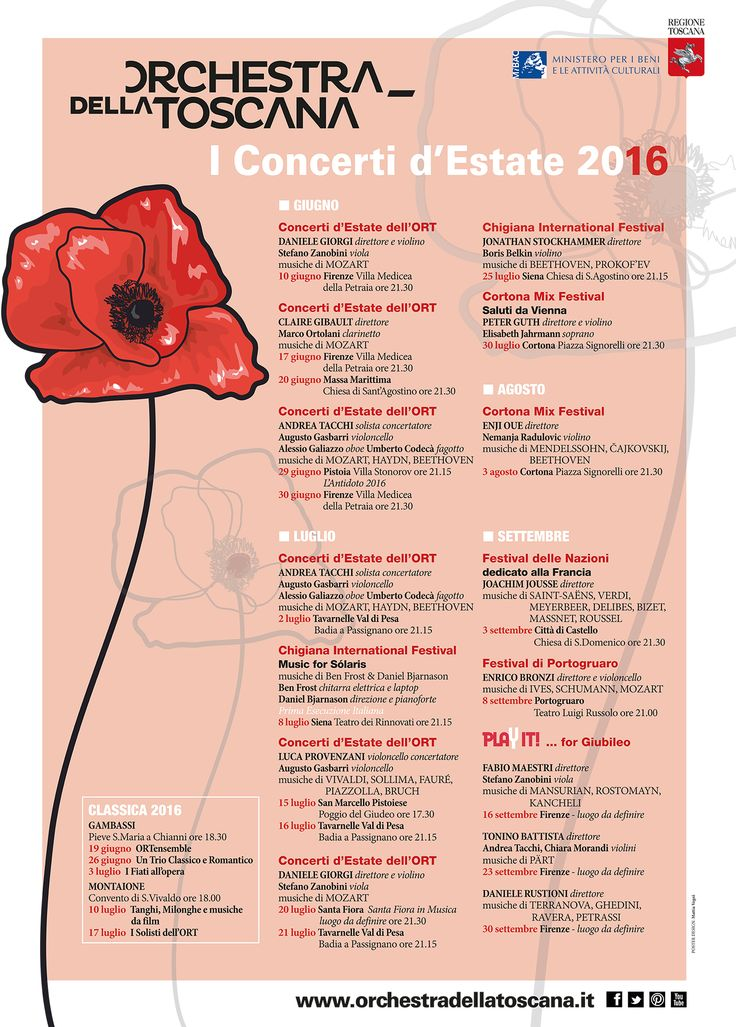 ORT | I Concerti d'Estate 2016 | impaginazione Ufficio Comunicazione ORT | grafica Mattia Vegni