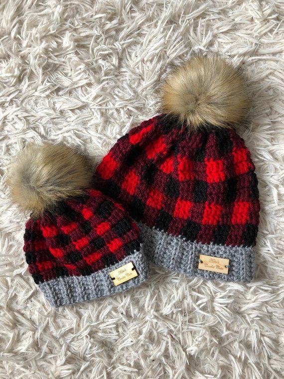 66de9f22583 Mommy And Me Crochet Buffalo Plaid Hat