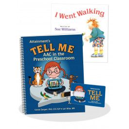 The Tell Me Program focuses on a small set of high frequency words (core vocabulary) that children use throughout the day and helps teachers and speech and language pathologists structure lessons to teach and practice those words using research-supported strategies. Using familiar books, such as I Went Walking (included) and No, David, preschool teams target core words in shared reading, shared writing, and classroom routines. The Tell Me program can be used with any AAC device, app, or…