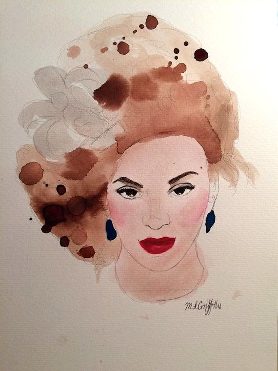 Beyoncé  Original Watercolour Painting by Madison by PoppingMouse