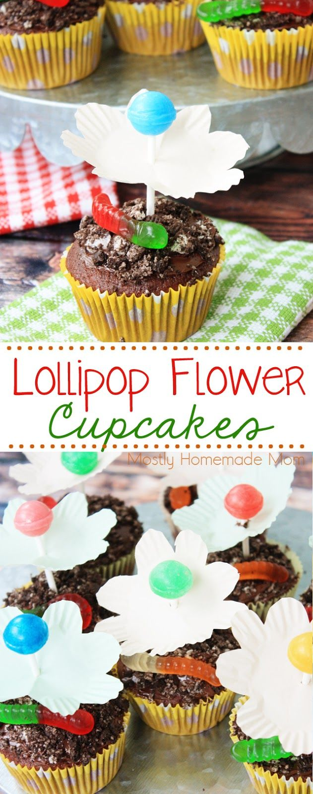 Lollipop Flower Cupcakes - absolutely adorable and perfect birthday parties! Crushed Oreo cookies, Dum Dum lollipops, gummy worms and paper cupcake liners make these DIY cupcakes so easy!!