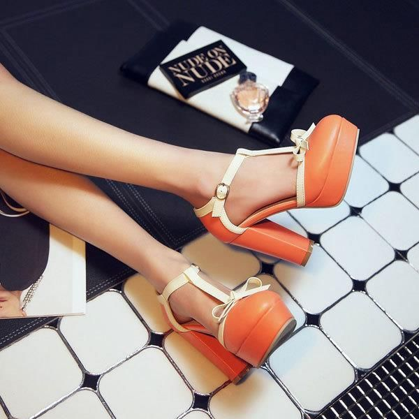 Купить товар2014 Новая Мода Толстые Высокие Каблуки Сандалии для Женщин Бренд Лодыжки Т Ремень Сандалии Женщин лук Лето Платформа Женская Обувь OX106 в категории Сандалиина AliExpress.           Уважаемый покупатель: каждый увеличился 0.5 см. если вы не знаете, что вы покупаете, пожалуйста, оставьте сооб